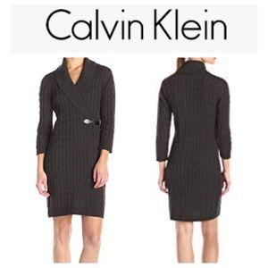 Calvin Klein sheath cable knit sweater dress sm